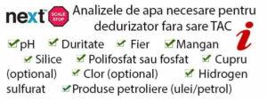 Analizele de apa necesare pentru dedurizator fara sare TAC